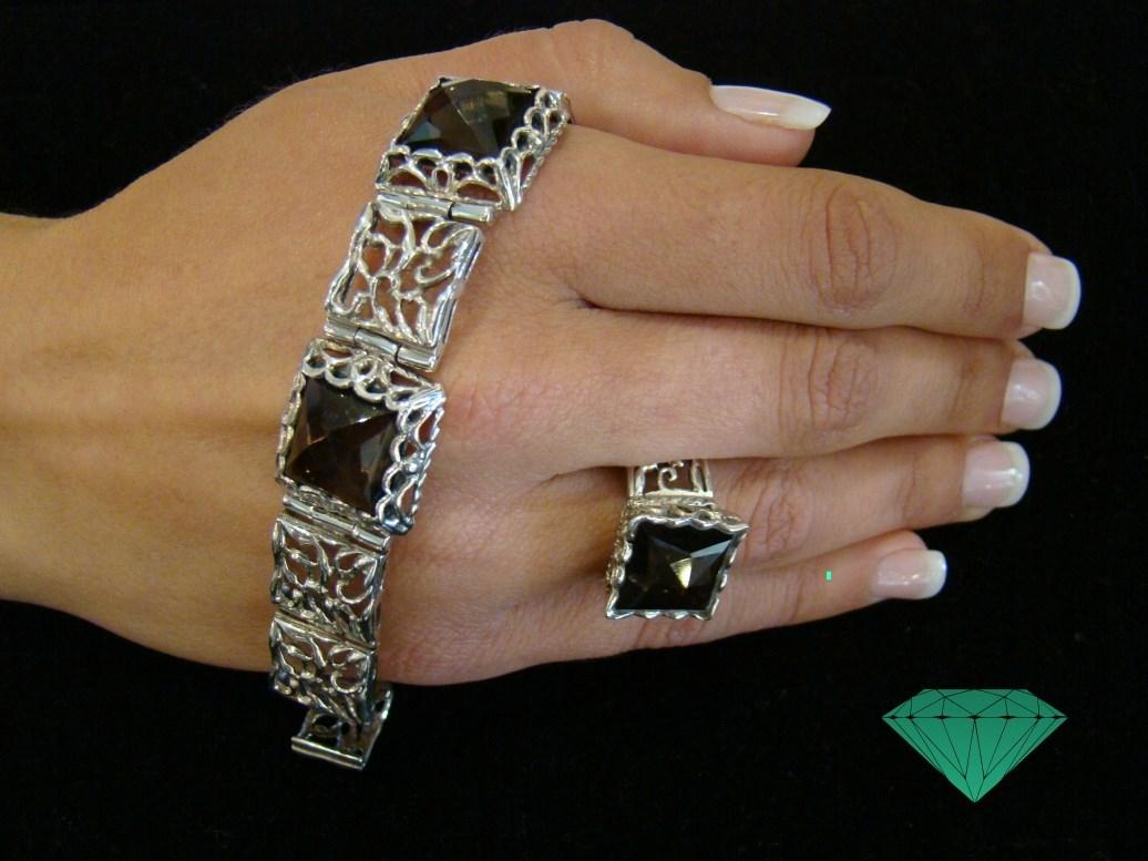 pulseira e anel quartzo fumado High Quality Unique Handmade Jewellery Opalina Atelier Lagos Algarve Portugal